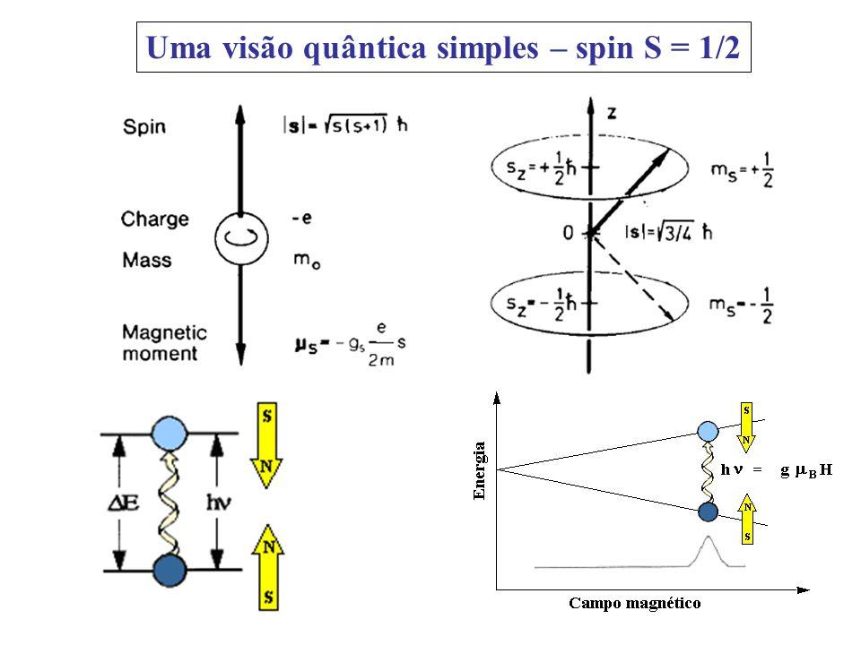 Uma visão quântica simples – spin S = 1/2