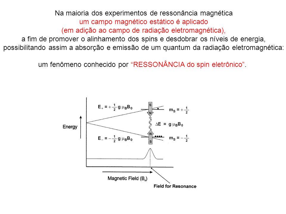 Na maioria dos experimentos de ressonância magnética