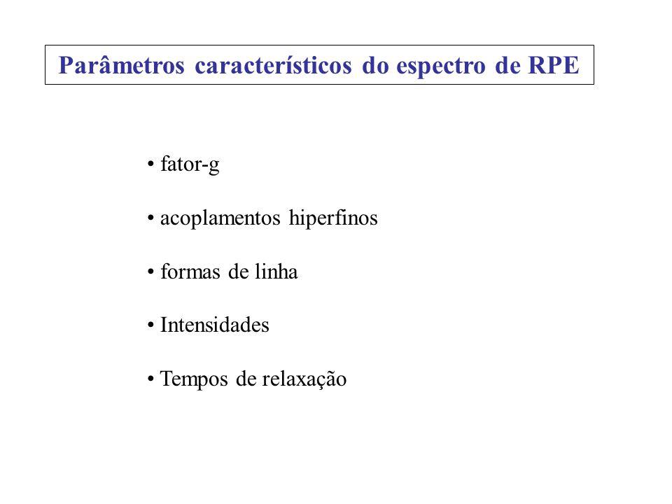 Parâmetros característicos do espectro de RPE
