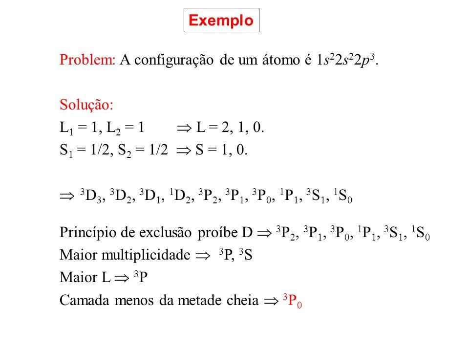Exemplo Problem: A configuração de um átomo é 1s22s22p3. Solução: L1 = 1, L2 = 1  L = 2, 1, 0.