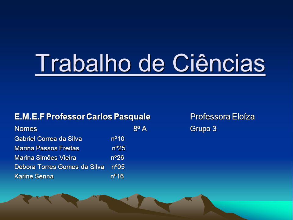 Trabalho de Ciências E.M.E.F Professor Carlos Pasquale Professora Eloíza. Nomes 8ª A Grupo 3.