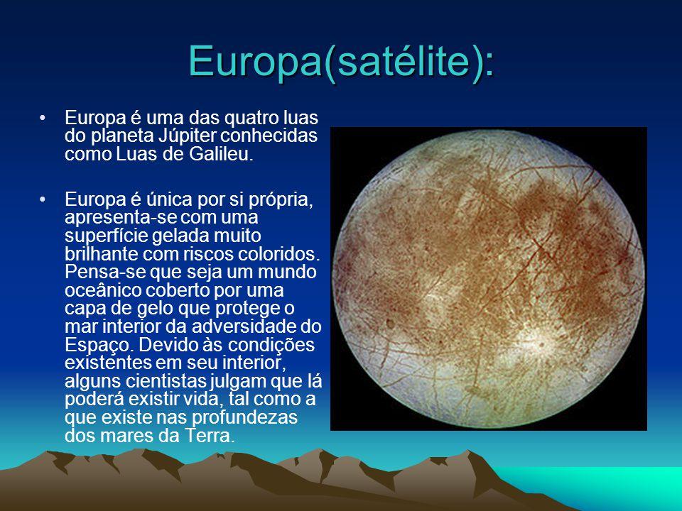 Europa(satélite): Europa é uma das quatro luas do planeta Júpiter conhecidas como Luas de Galileu.