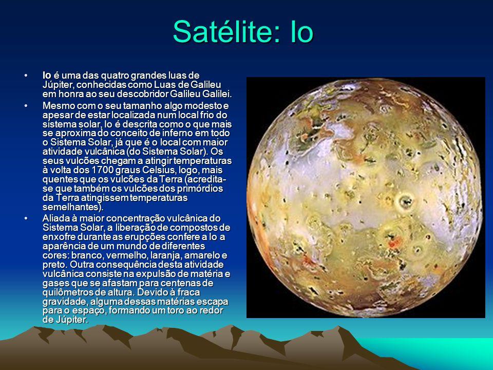 Satélite: Io Io é uma das quatro grandes luas de Júpiter, conhecidas como Luas de Galileu em honra ao seu descobridor Galileu Galilei.