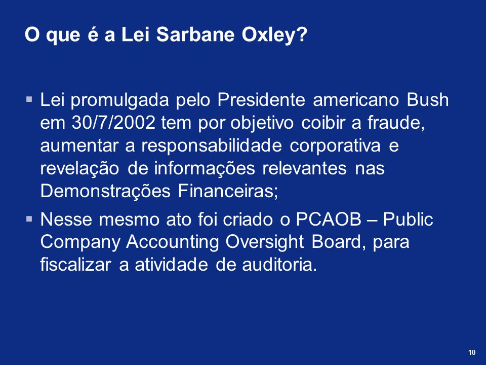 O que é a Lei Sarbane Oxley