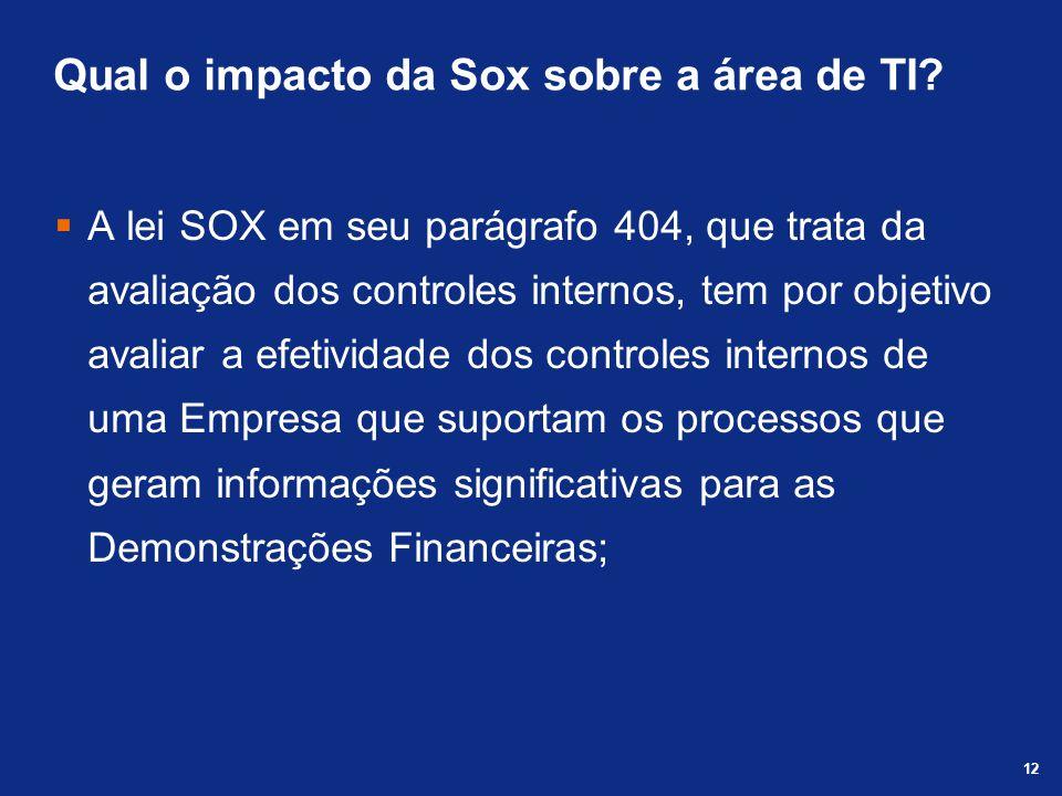 Qual o impacto da Sox sobre a área de TI