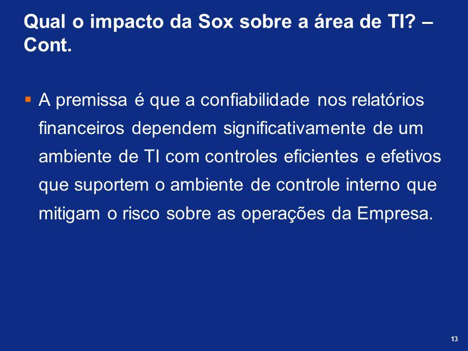 Qual o impacto da Sox sobre a área de TI – Cont.