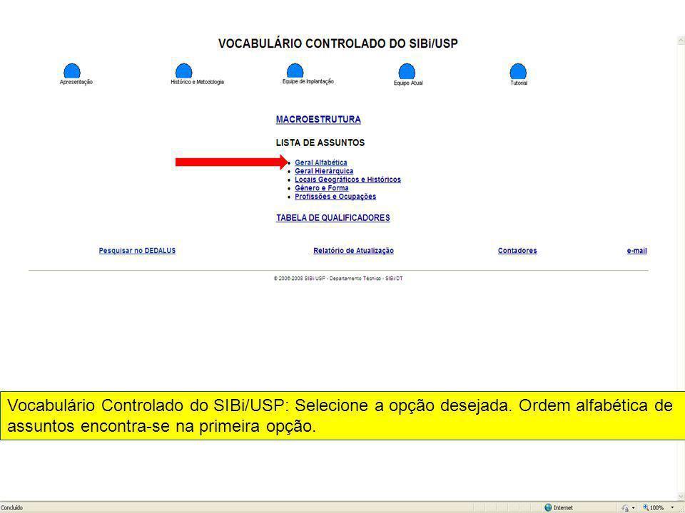 Vocabulário Controlado do SIBi/USP: Selecione a opção desejada
