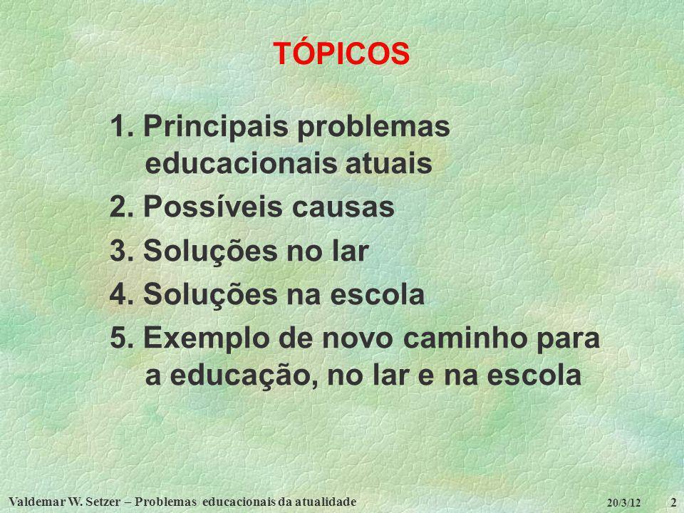 Valdemar W. Setzer – Problemas educacionais da atualidade