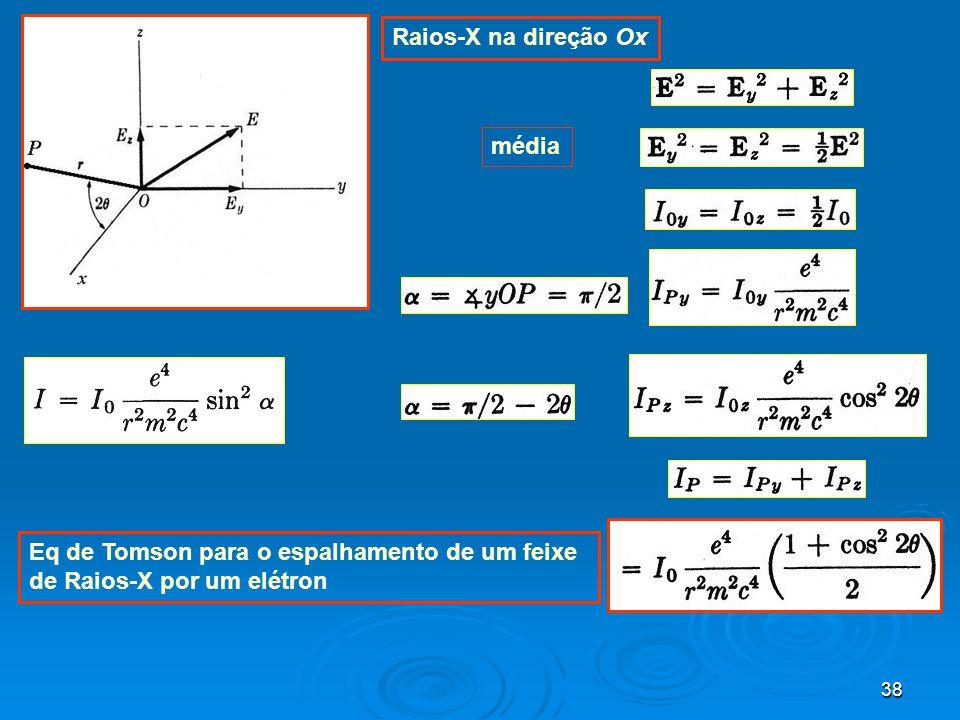 Raios-X na direção Ox média Eq de Tomson para o espalhamento de um feixe de Raios-X por um elétron