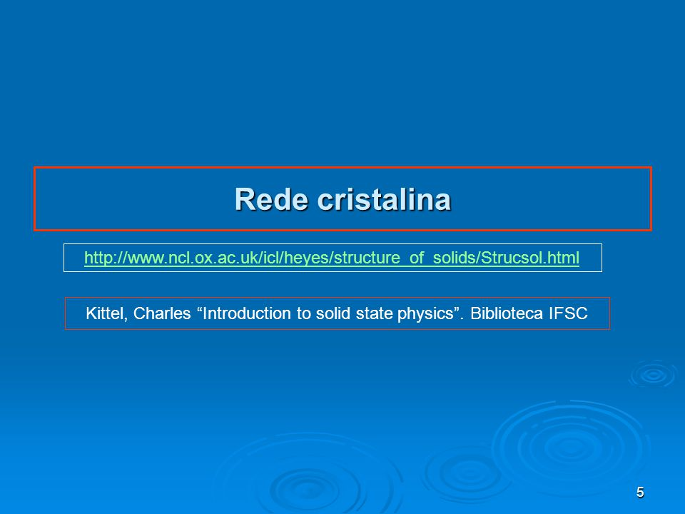 Kittel, Charles Introduction to solid state physics . Biblioteca IFSC