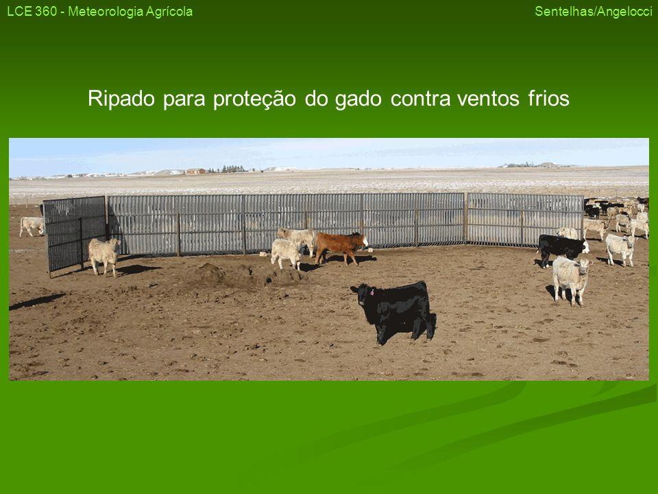 Ripado para proteção do gado contra ventos frios