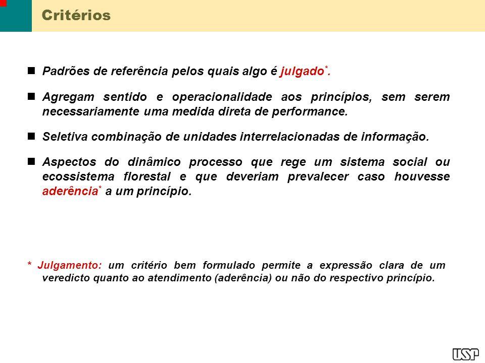 Critérios Padrões de referência pelos quais algo é julgado*.