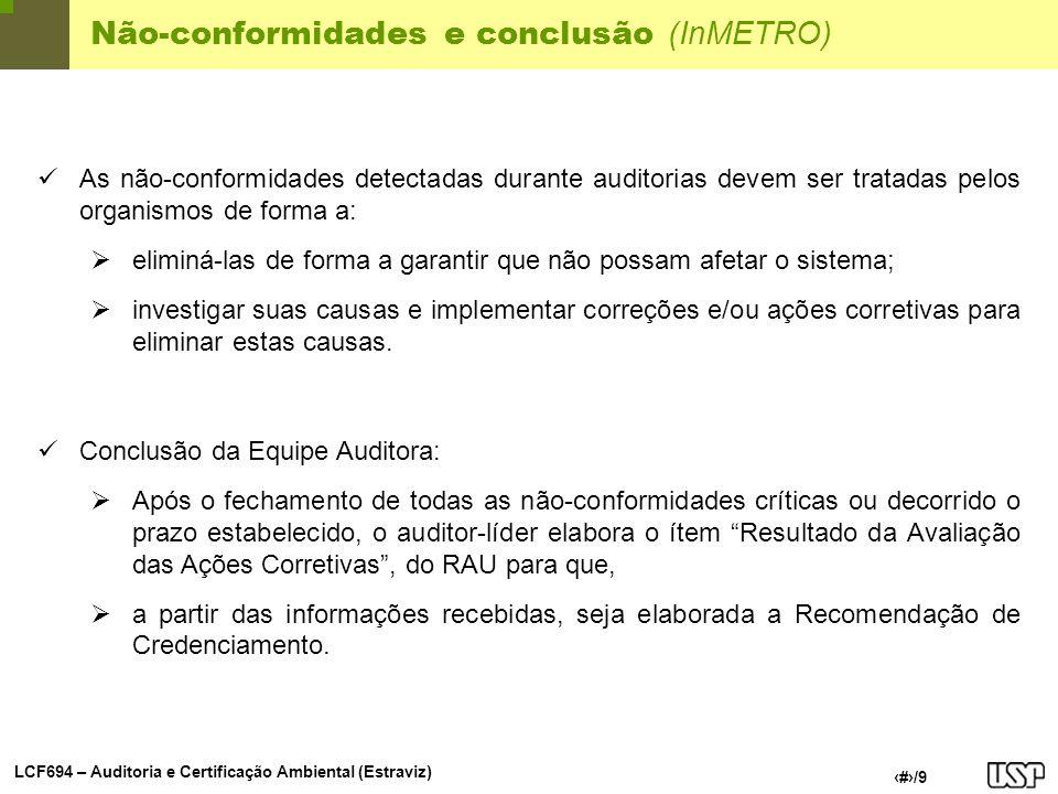 Não-conformidades e conclusão (InMETRO)