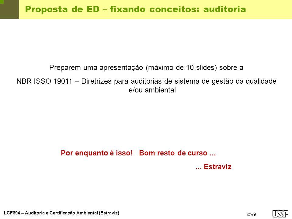 Proposta de ED – fixando conceitos: auditoria