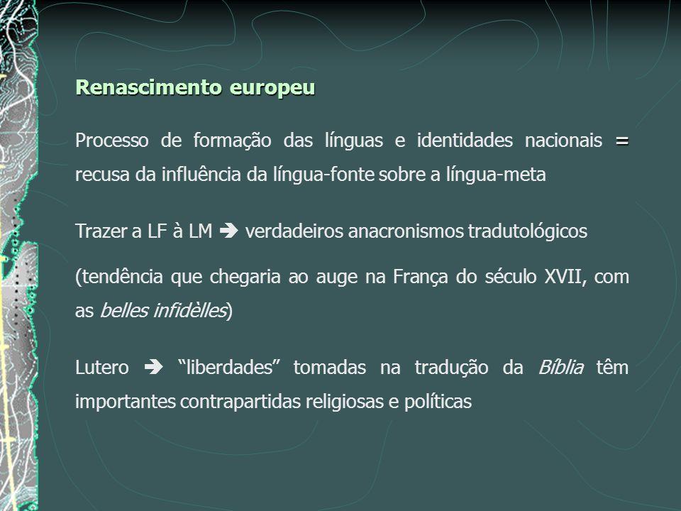 Renascimento europeu Processo de formação das línguas e identidades nacionais = recusa da influência da língua-fonte sobre a língua-meta.