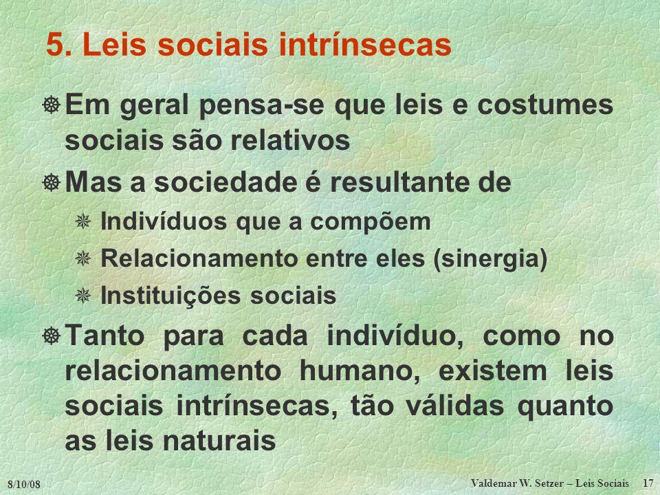 5. Leis sociais intrínsecas