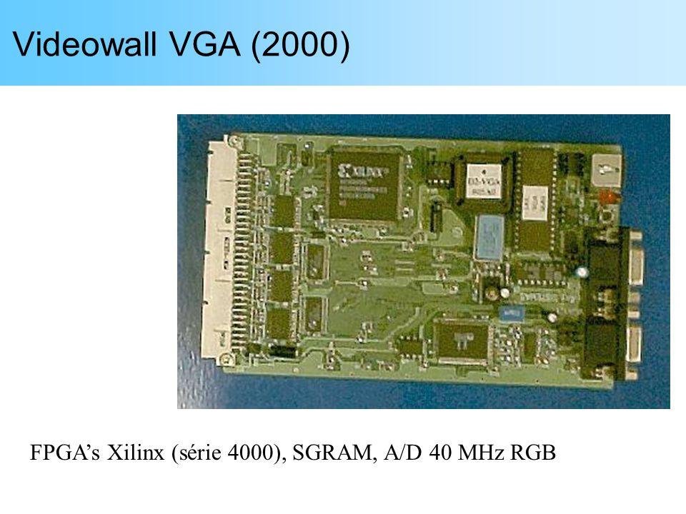 Videowall VGA (2000) FPGA's Xilinx (série 4000), SGRAM, A/D 40 MHz RGB