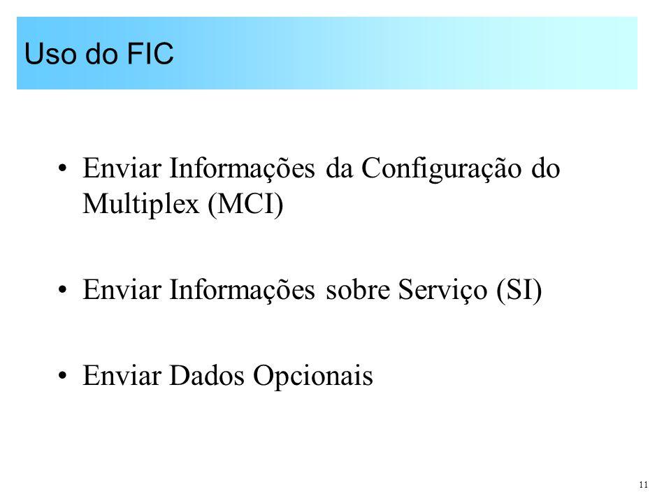 Uso do FIC Enviar Informações da Configuração do Multiplex (MCI) Enviar Informações sobre Serviço (SI)
