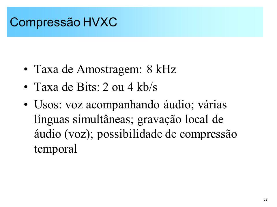 Compressão HVXC Taxa de Amostragem: 8 kHz. Taxa de Bits: 2 ou 4 kb/s.