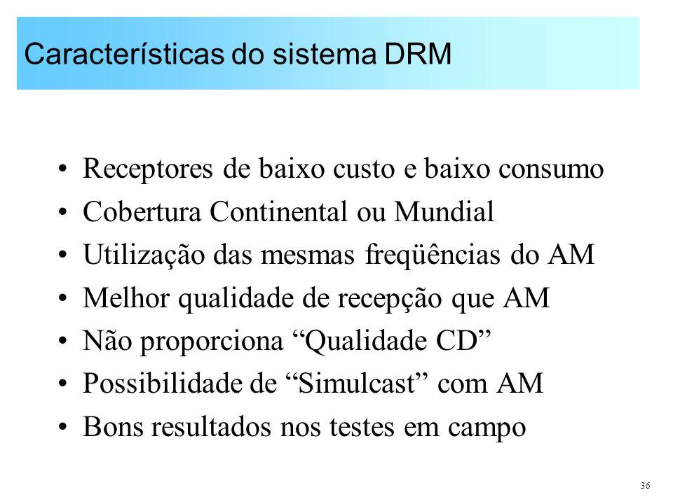 Características do sistema DRM