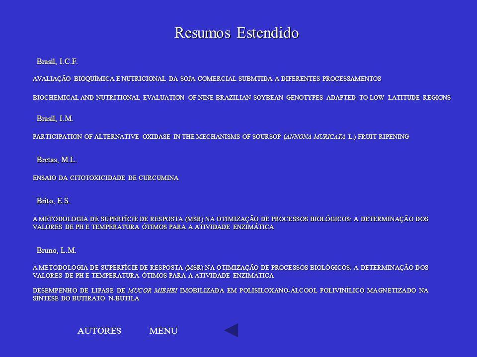Resumos Estendido AUTORES MENU Brasil, I.C.F. Brasil, I.M.