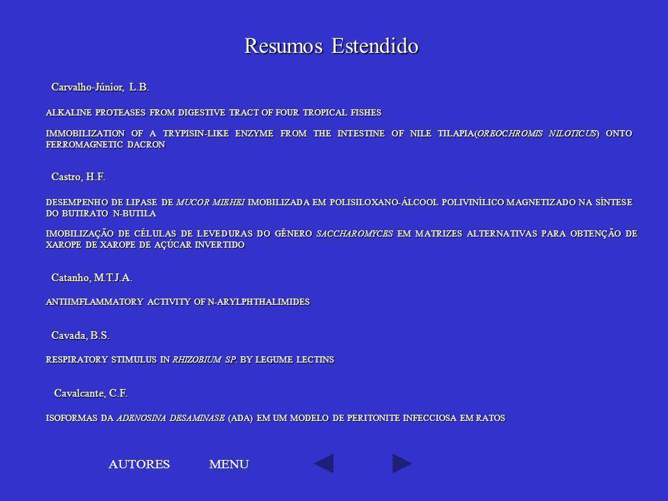 Resumos Estendido AUTORES MENU Carvalho-Júnior, L.B. Castro, H.F.