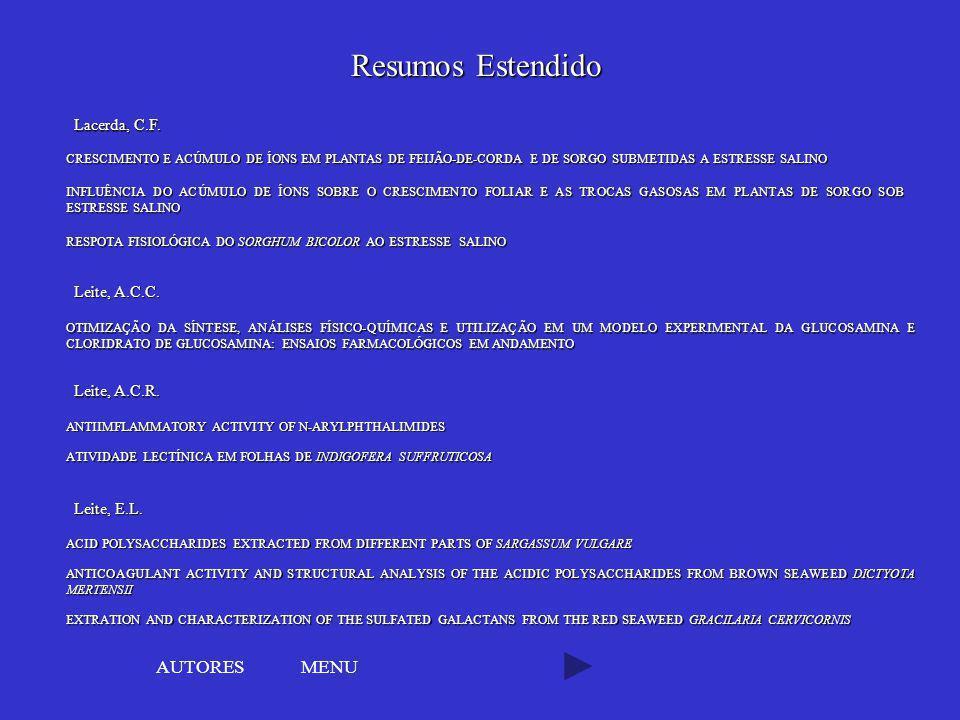 Resumos Estendido AUTORES MENU Lacerda, C.F. Leite, A.C.C.