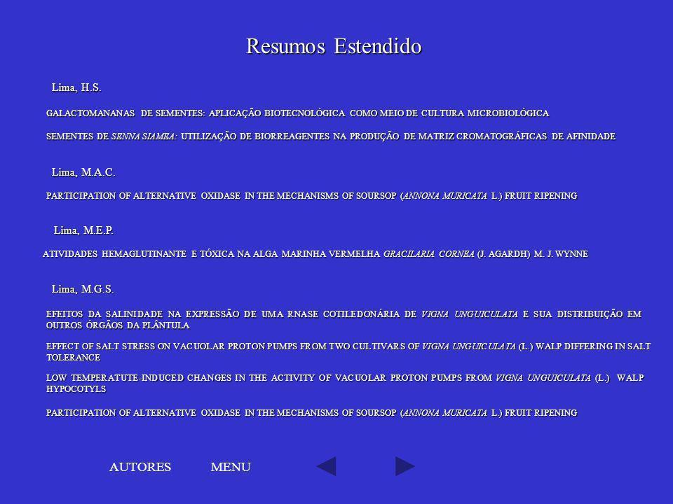 Resumos Estendido AUTORES MENU Lima, H.S. Lima, M.A.C. Lima, M.E.P.
