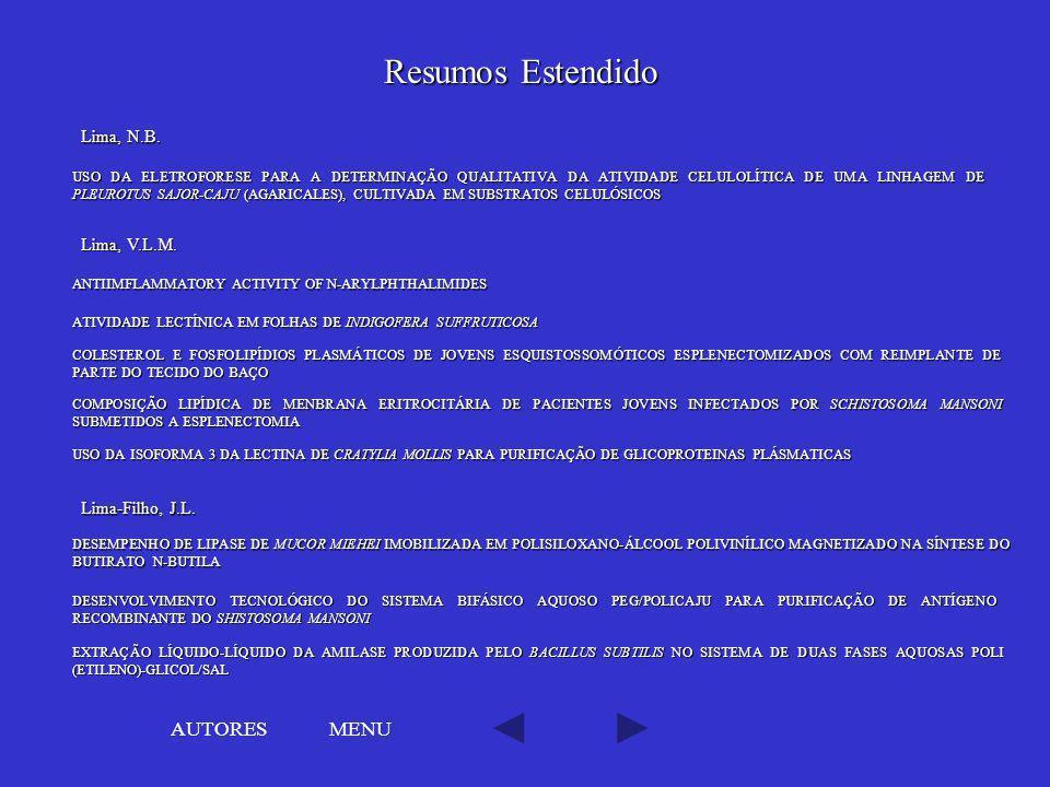 Resumos Estendido AUTORES MENU Lima, N.B. Lima, V.L.M.