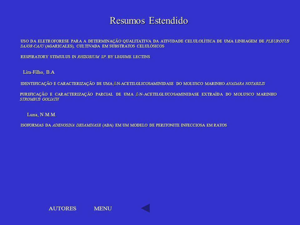 Resumos Estendido AUTORES MENU Lira-Filho, B.A Luna, N.M.M.