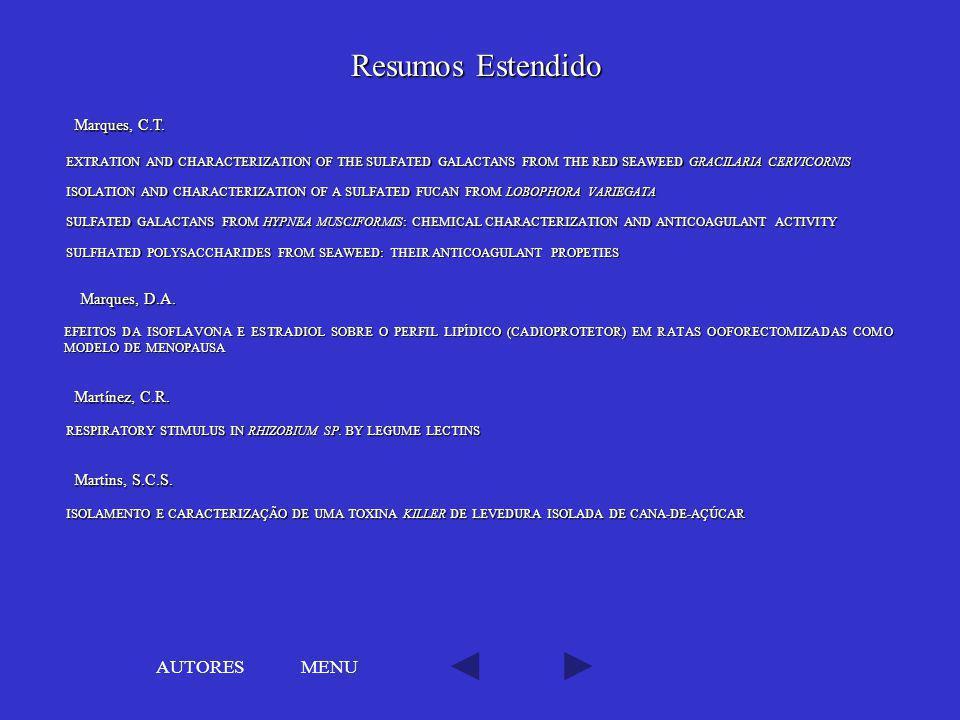Resumos Estendido AUTORES MENU Marques, C.T. Marques, D.A.