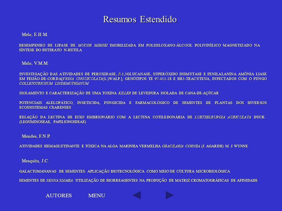 Resumos Estendido AUTORES MENU Melo, E.H.M. Melo, V.M.M.