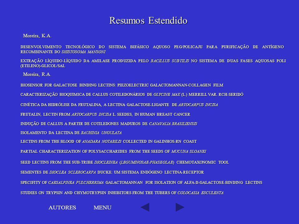 Resumos Estendido AUTORES MENU Moreira, K.A. Moreira, R.A.