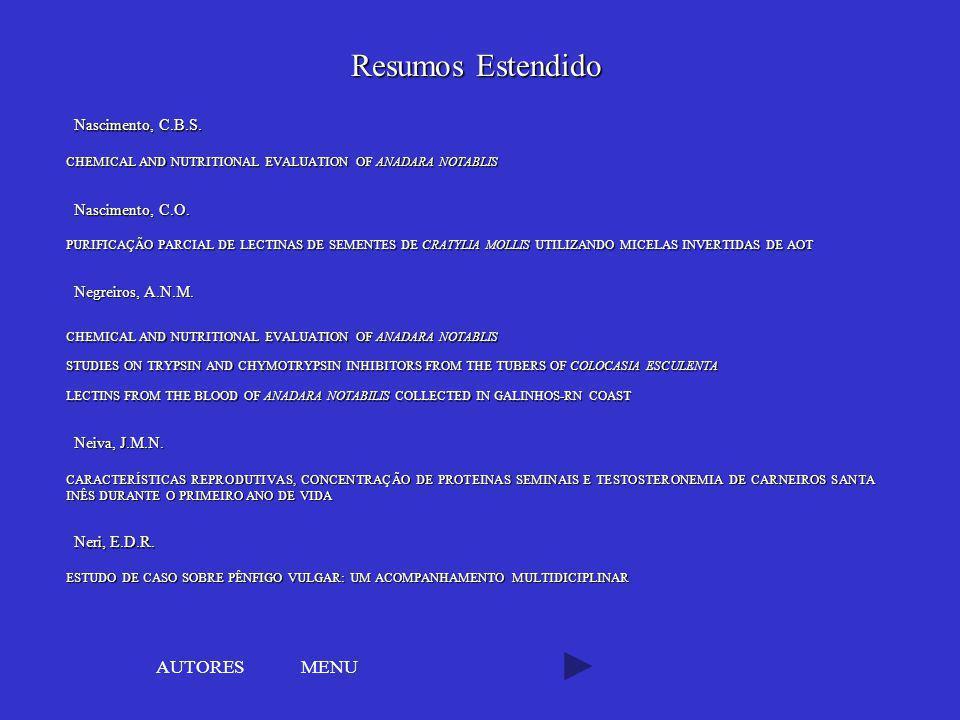 Resumos Estendido AUTORES MENU Nascimento, C.B.S. Nascimento, C.O.