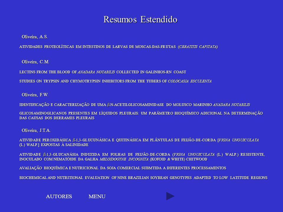 Resumos Estendido AUTORES MENU Oliveira, A.S. Oliveira, C.M.