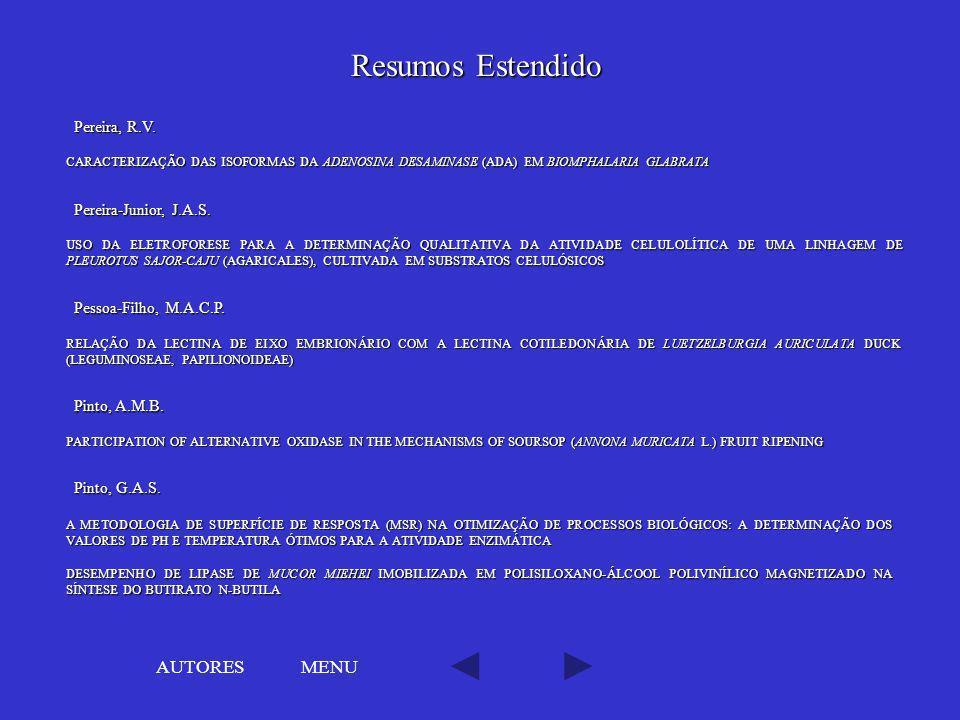 Resumos Estendido AUTORES MENU Pereira, R.V. Pereira-Junior, J.A.S.