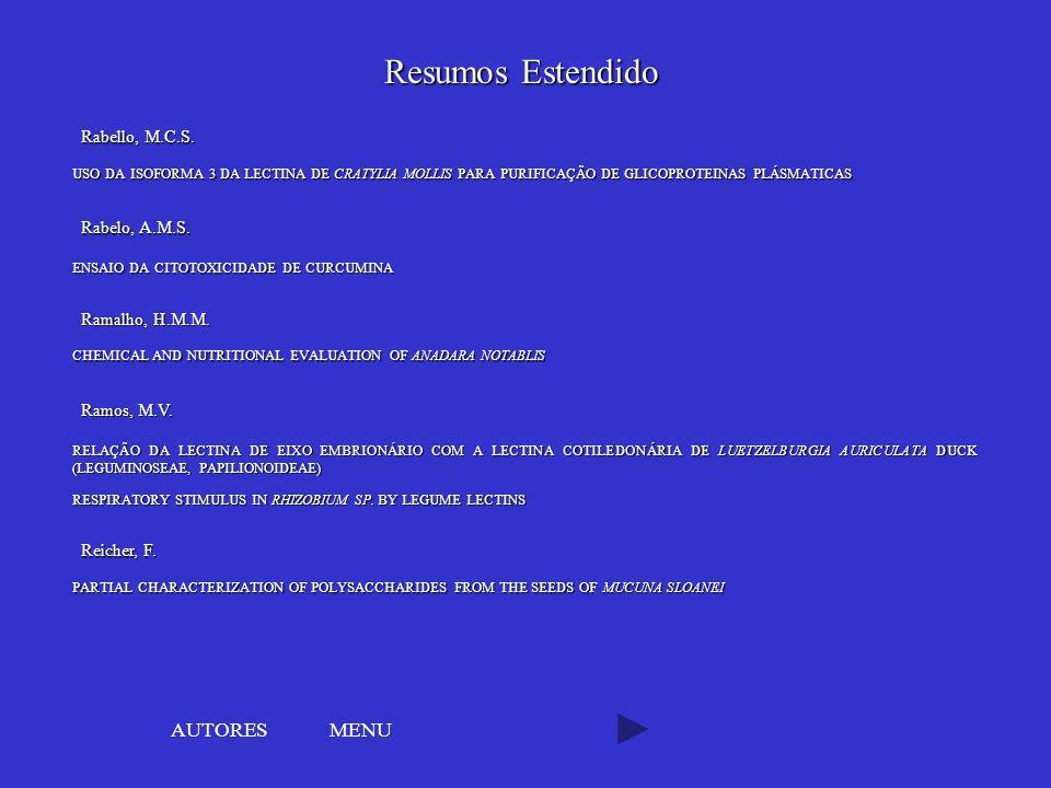 Resumos Estendido AUTORES MENU Rabello, M.C.S. Rabelo, A.M.S.