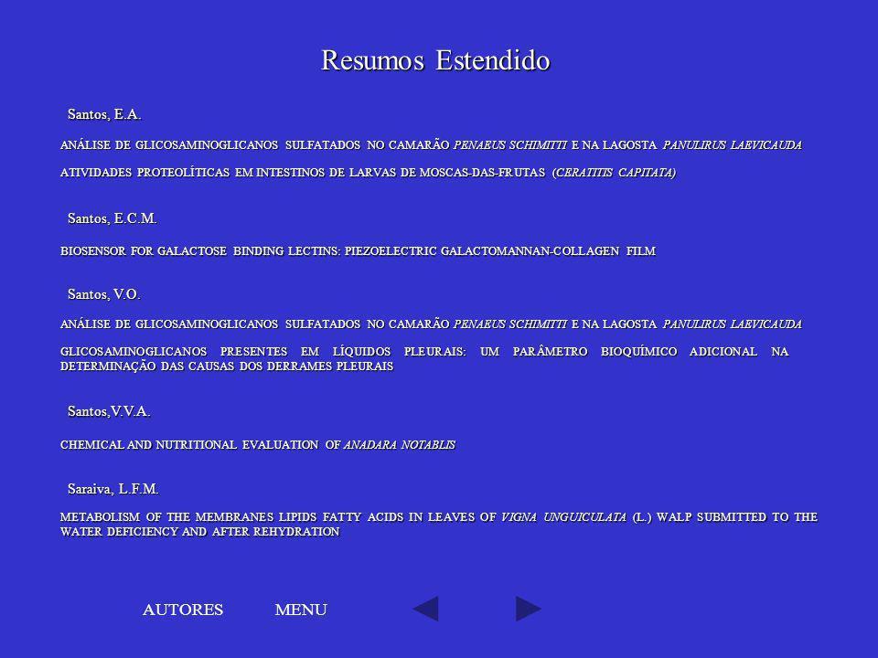Resumos Estendido AUTORES MENU Santos, E.A. Santos, E.C.M.
