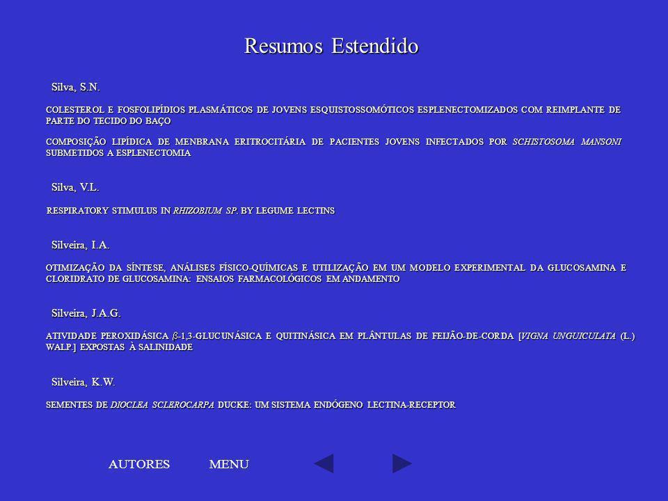 Resumos Estendido AUTORES MENU Silva, S.N. Silva, V.L. Silveira, I.A.