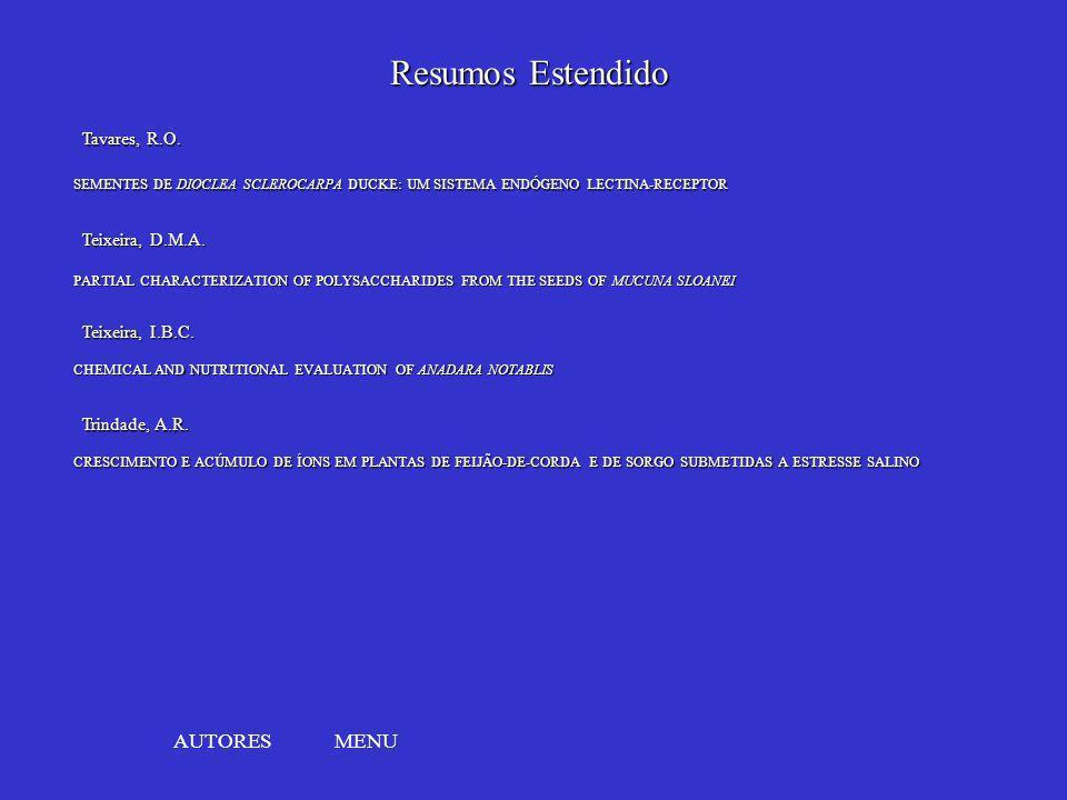 Resumos Estendido AUTORES MENU Tavares, R.O. Teixeira, D.M.A.