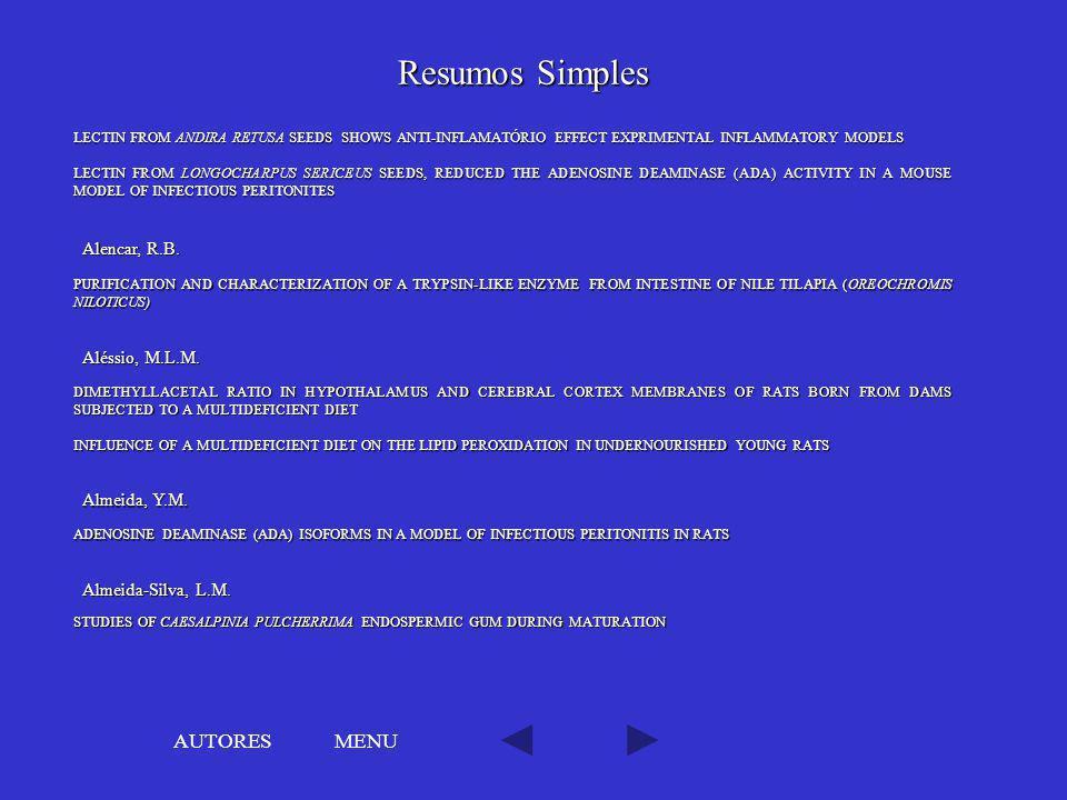 Resumos Simples AUTORES MENU Alencar, R.B. Aléssio, M.L.M.