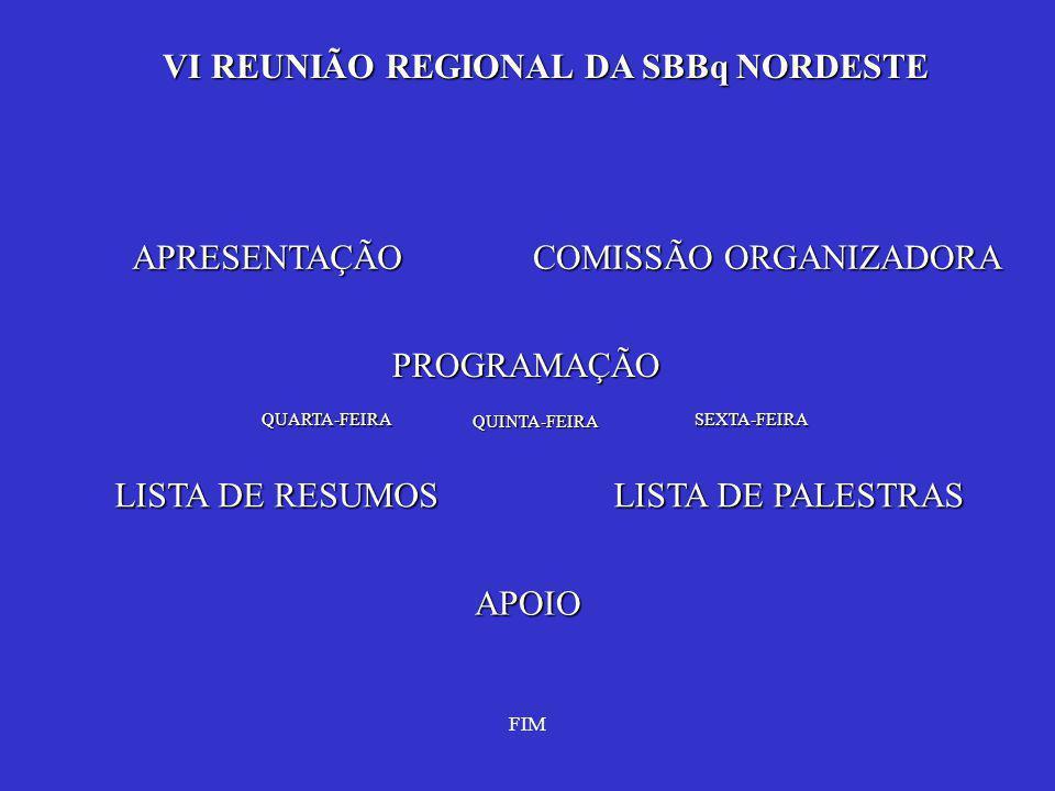 VI REUNIÃO REGIONAL DA SBBq NORDESTE