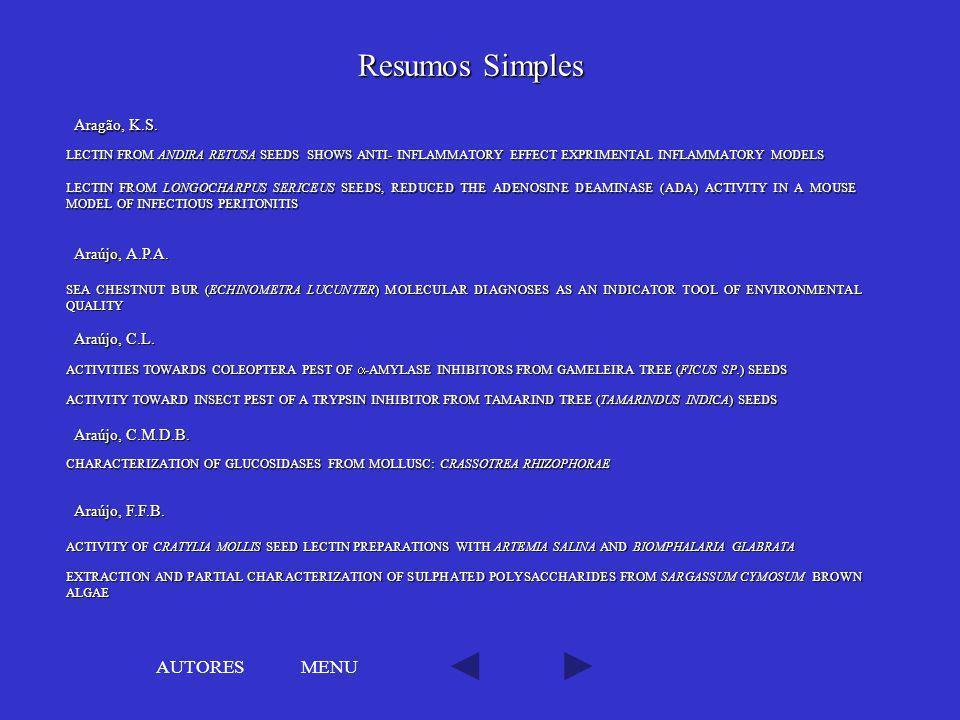Resumos Simples AUTORES MENU Aragão, K.S. Araújo, A.P.A. Araújo, C.L.