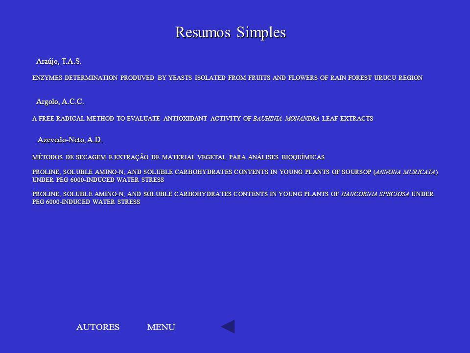 Resumos Simples AUTORES MENU Araújo, T.A.S. Argolo, A.C.C.