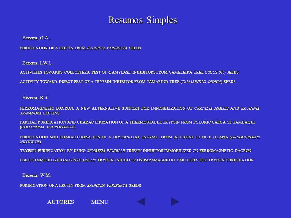 Resumos Simples AUTORES MENU Bezerra, G.A. Bezerra, I.W.L.