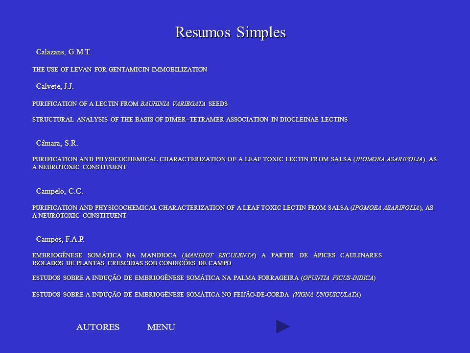 Resumos Simples AUTORES MENU Calazans, G.M.T. Calvete, J.J.