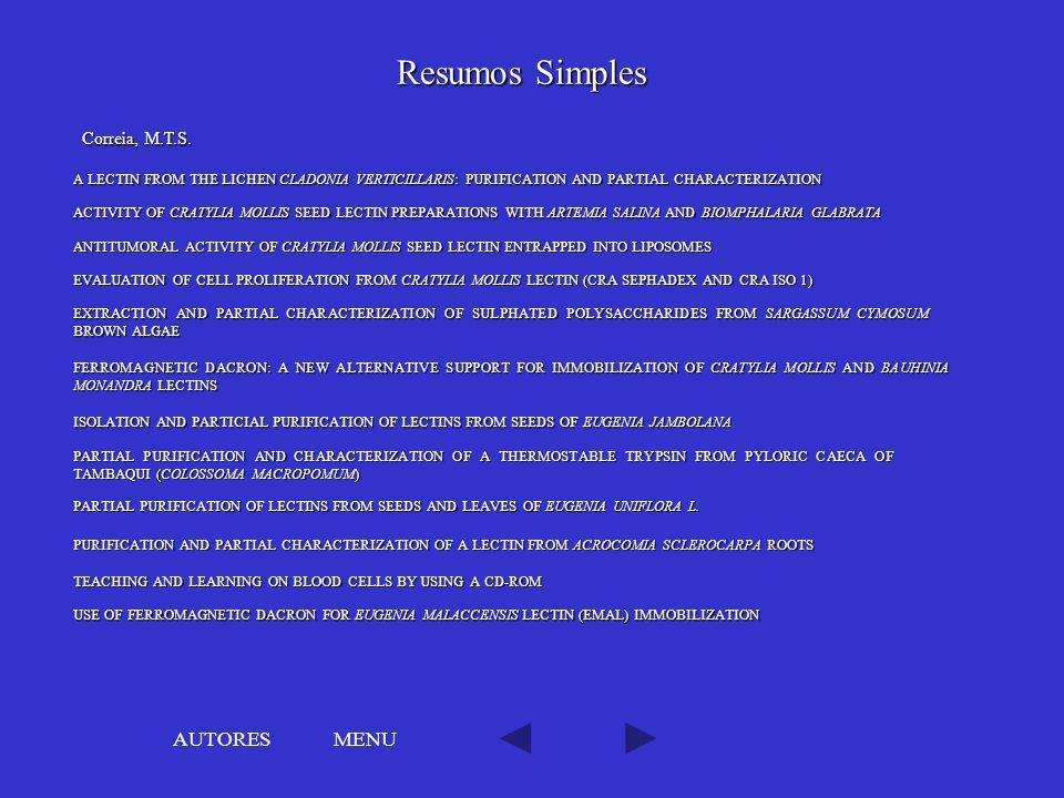 Resumos Simples AUTORES MENU Correia, M.T.S.