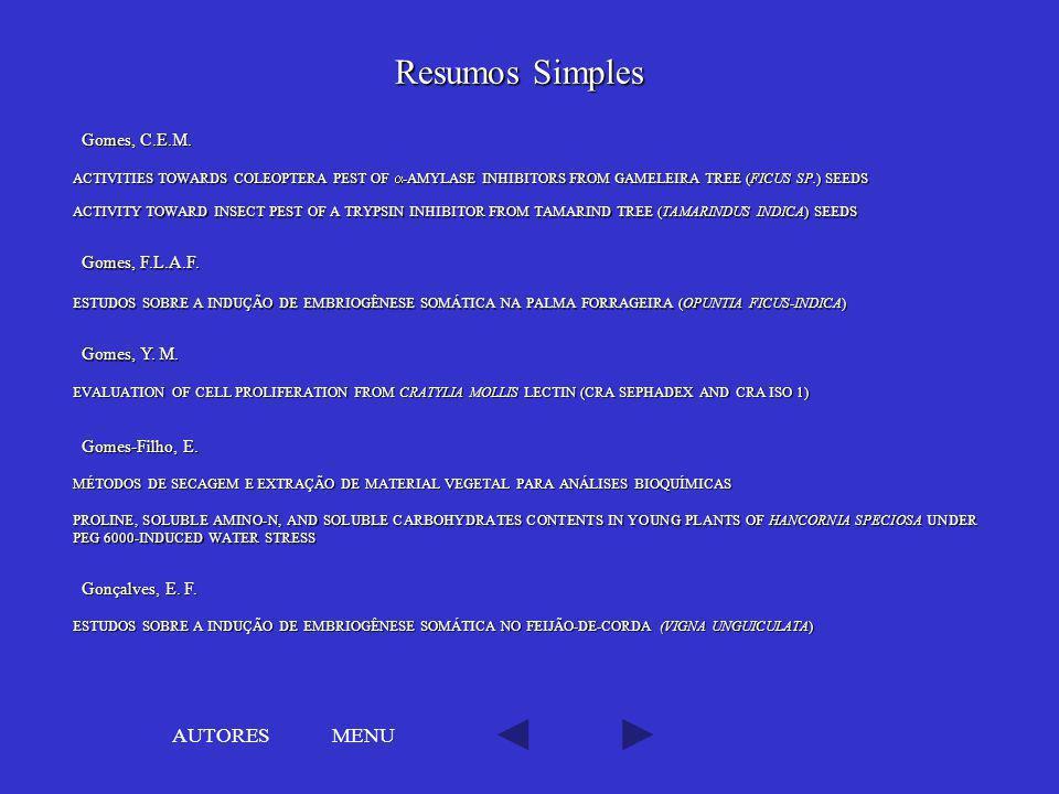 Resumos Simples AUTORES MENU Gomes, C.E.M. Gomes, F.L.A.F.