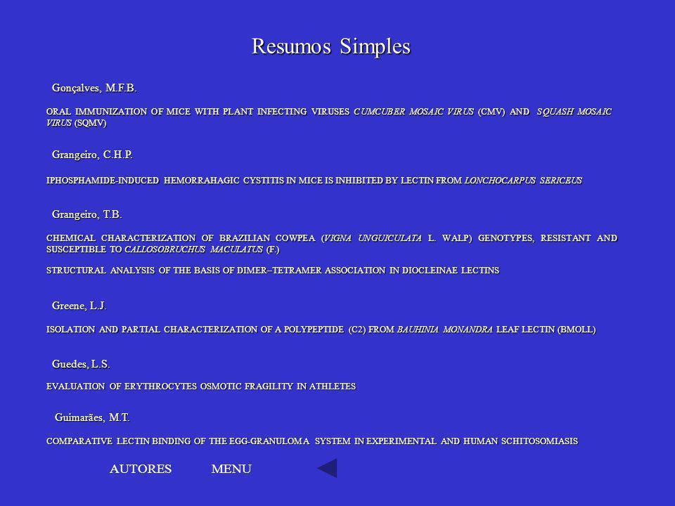 Resumos Simples AUTORES MENU Gonçalves, M.F.B. Grangeiro, C.H.P.