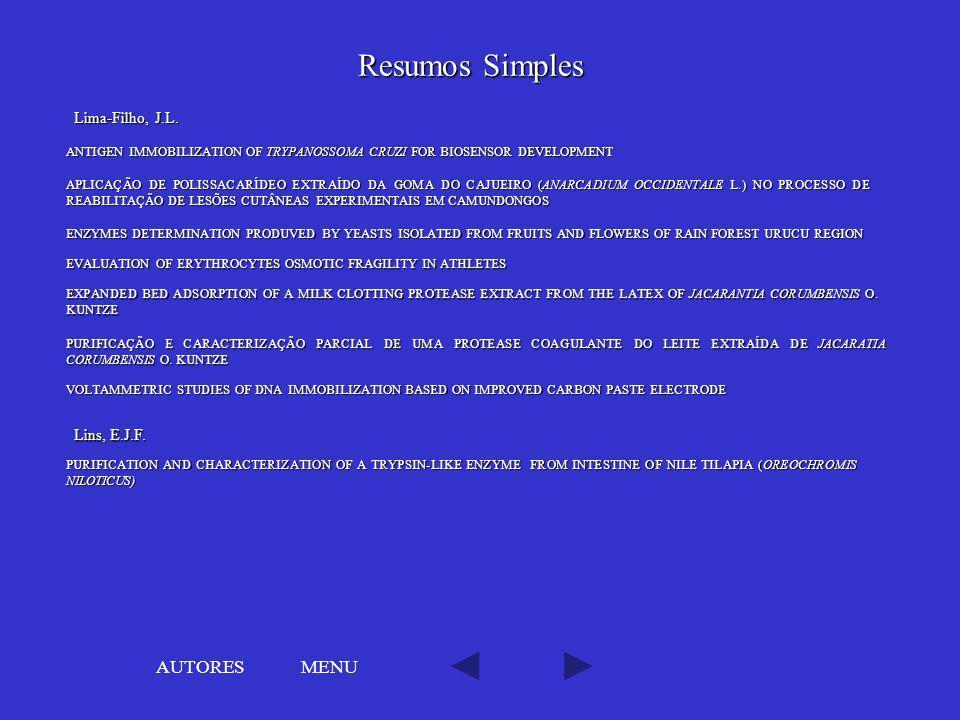 Resumos Simples AUTORES MENU Lima-Filho, J.L. Lins, E.J.F.